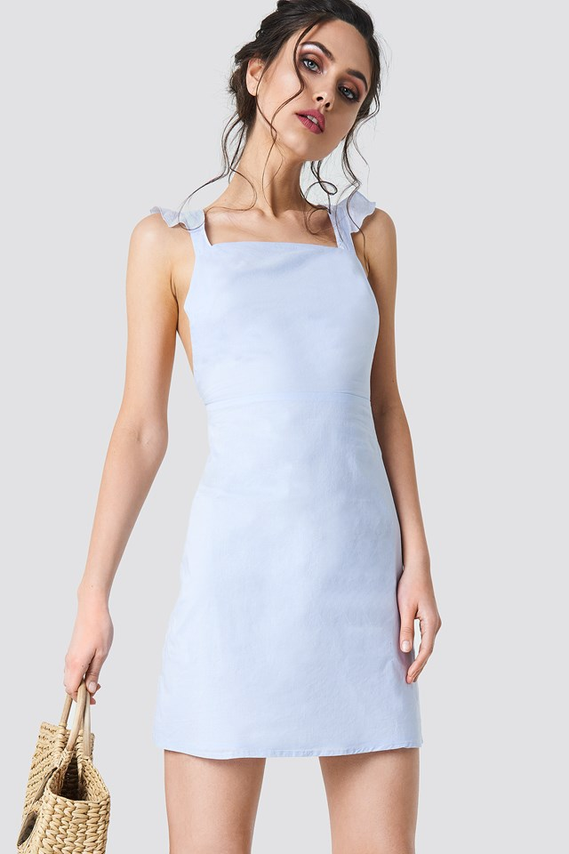 Cross Back Frill Mini Dress Light Blue