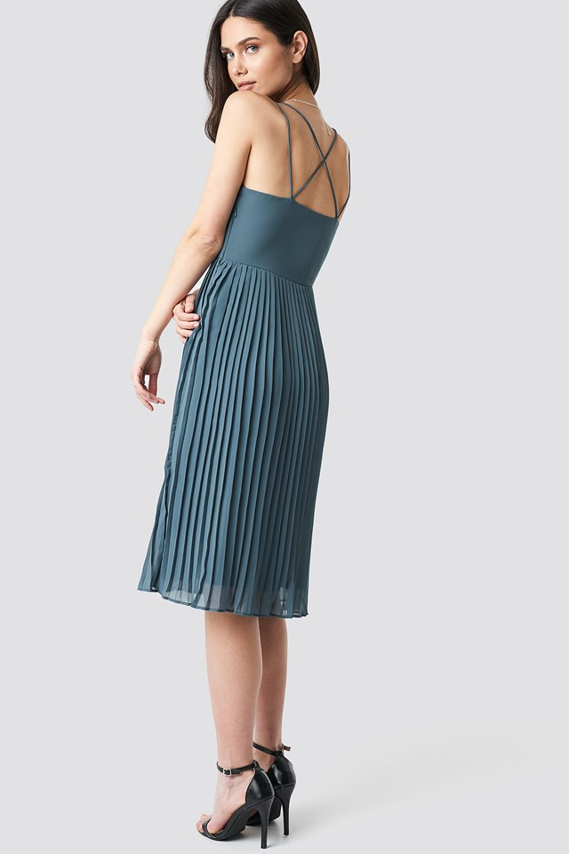 Cross Back Pleated Midi Dress Dark Dusty Blue