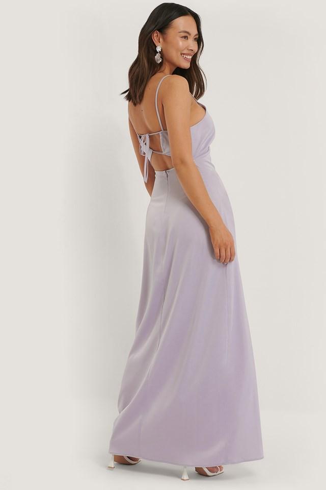 Cross Back Satin Dress Purple