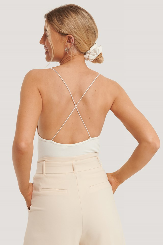 Cross Back Spaghetti Strap Body White
