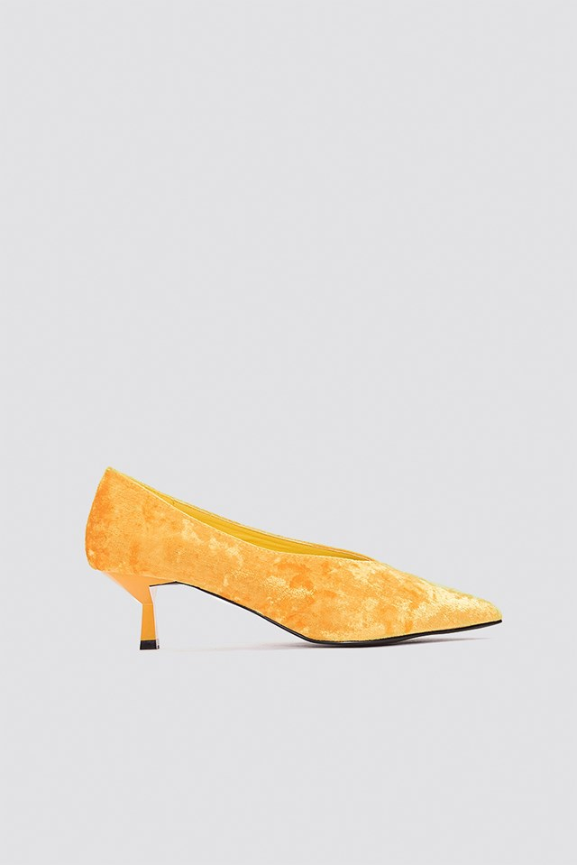Crushed Velvet Kitten Heel Orange