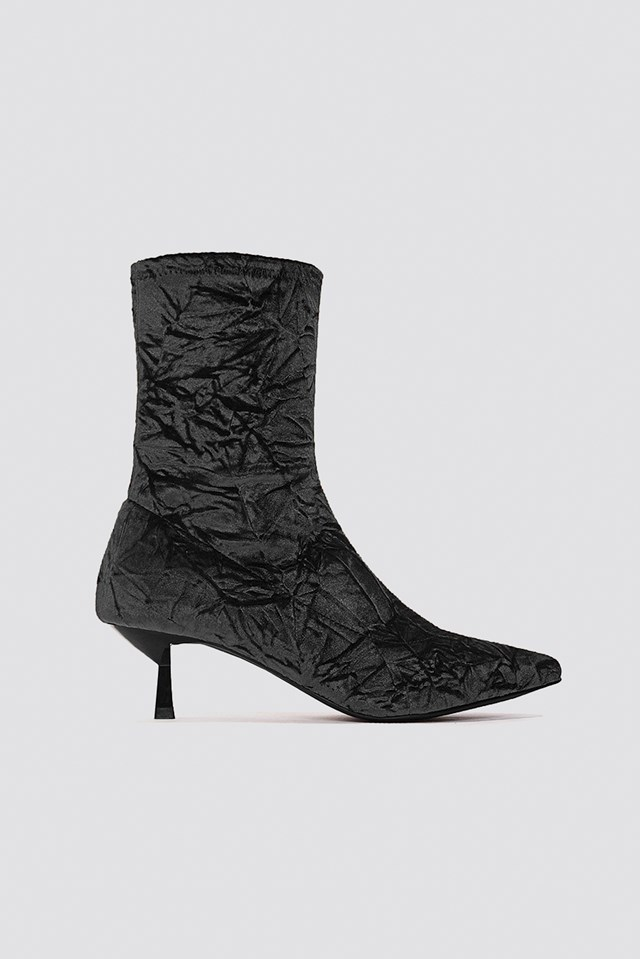 Crushed Velvet Sock Boot Black
