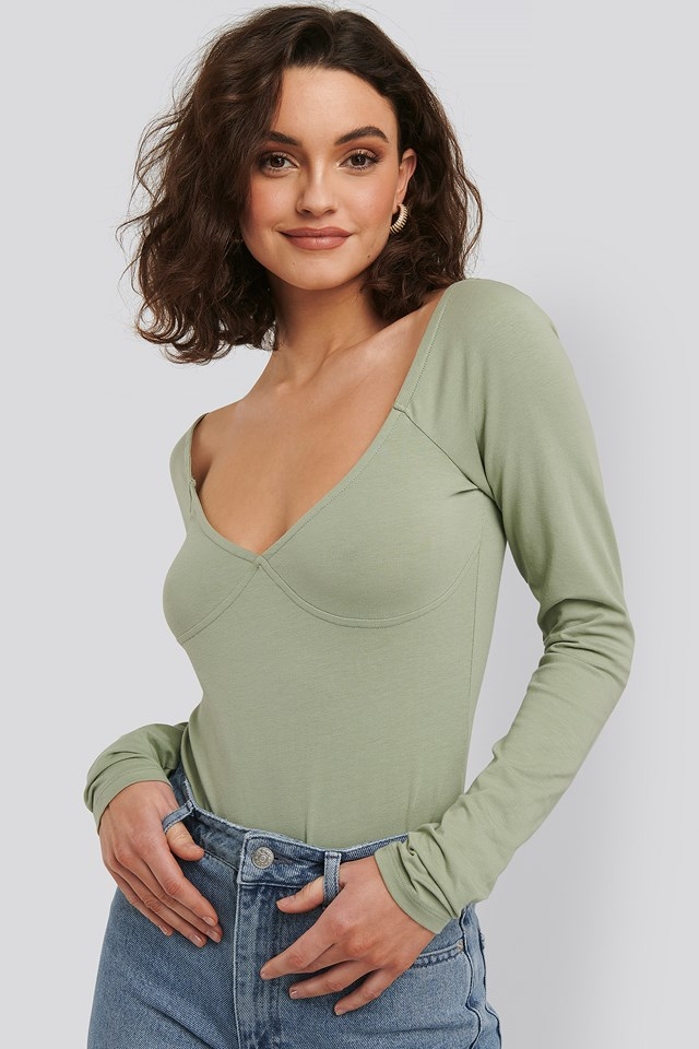 Green Cup Detail Long Sleeve Body
