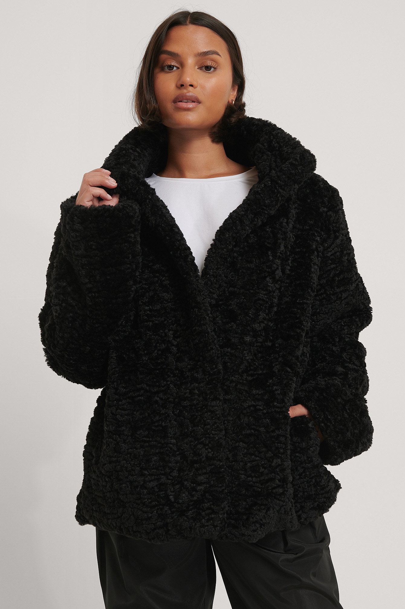 Black Curly Teddy Jacket
