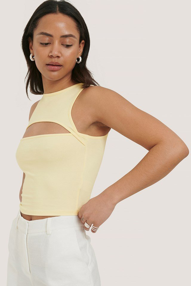 Cut Out Cropped Top Offwhite