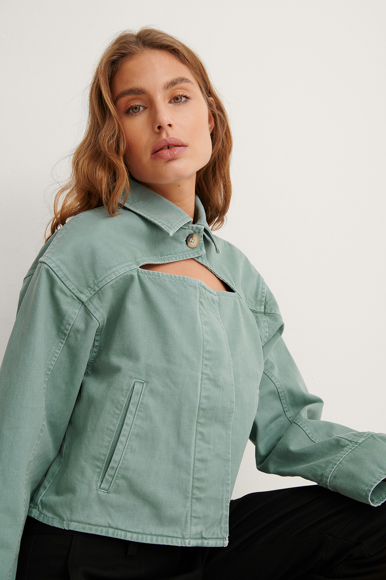Light Turquoise Organic Cut Out Denim Jacket