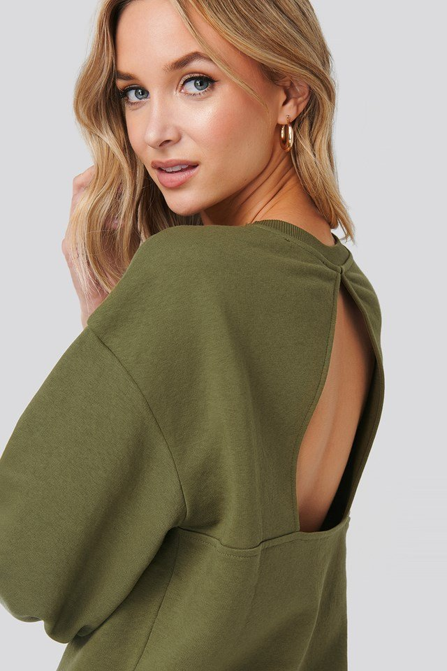 Cut Out Oversized Sweatshirt Green