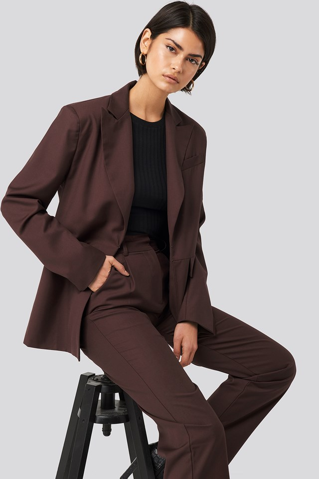 Cutline Loose Fit Detail Blazer Burgundy