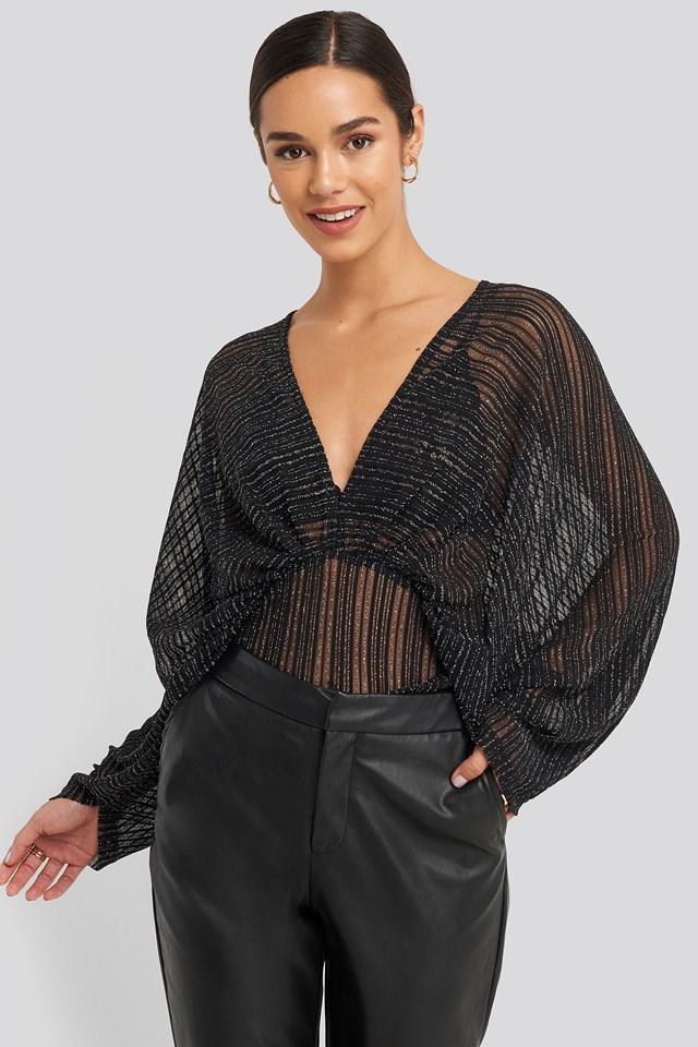 Dolman Sleeve Blouse Black