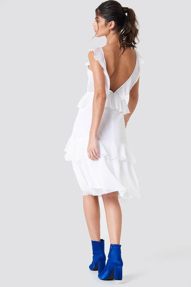 White Deep Back Frill Chiffon Dress
