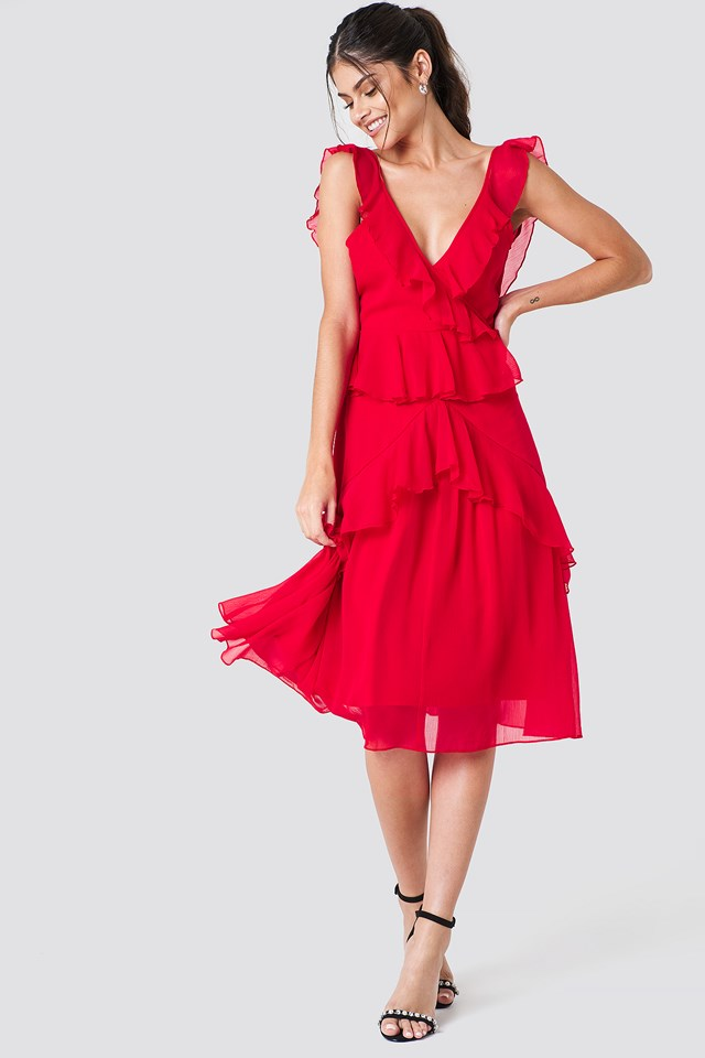 Deep Back Frill Chiffon Dress Red