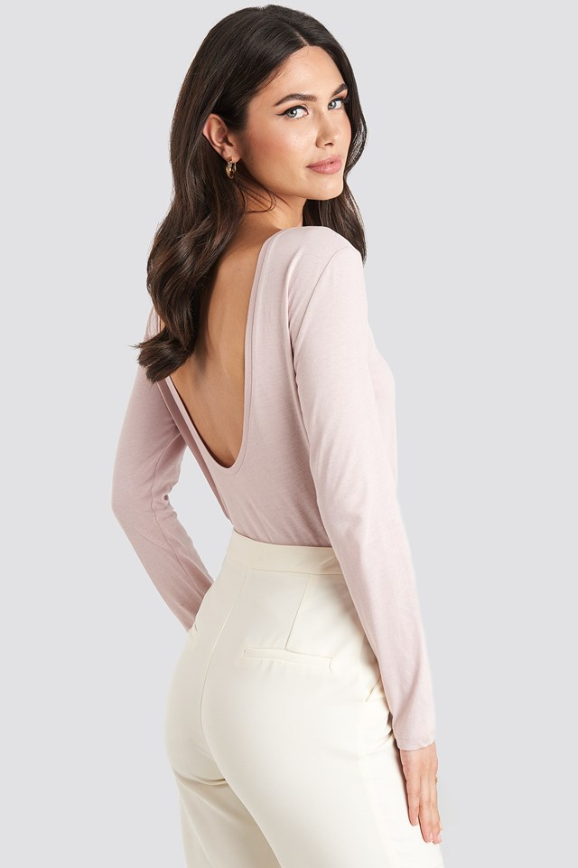 Deep Back Long Sleeve Top Dusty Light Pink