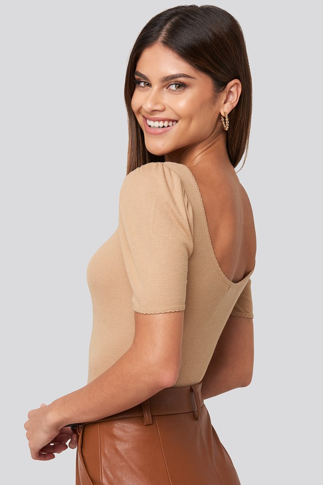 Deep Back Puff Sleeve Top Light Beige