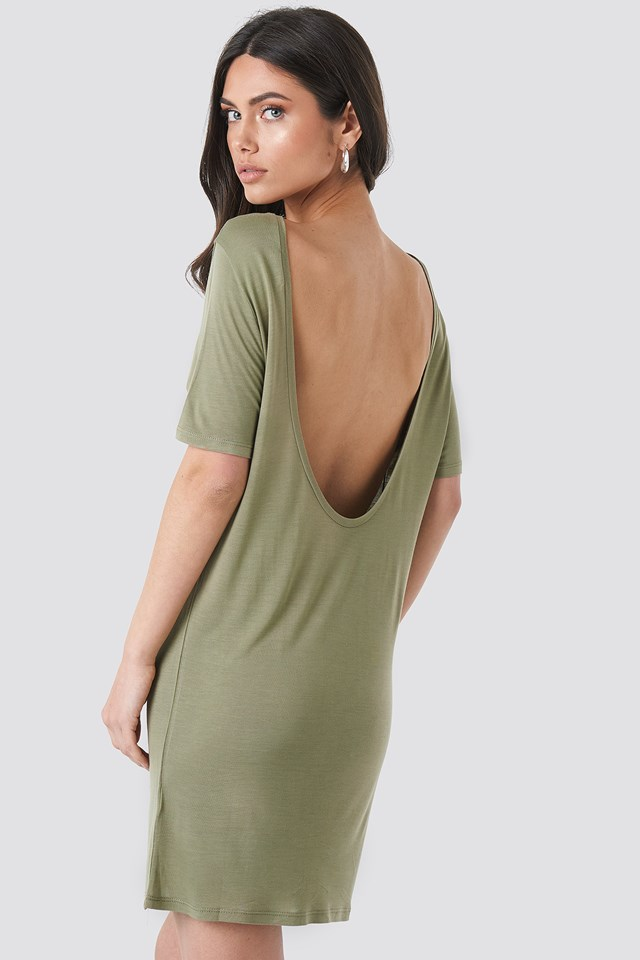 Deep Back Viscose Dress Light Khaki