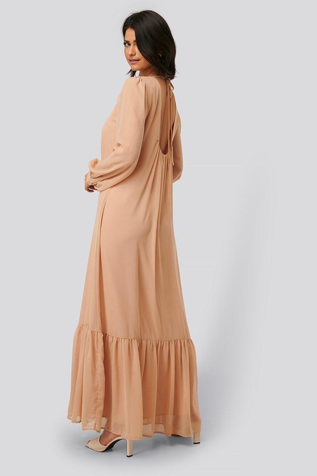 Deep Back Maxi Dress Dusty Pink