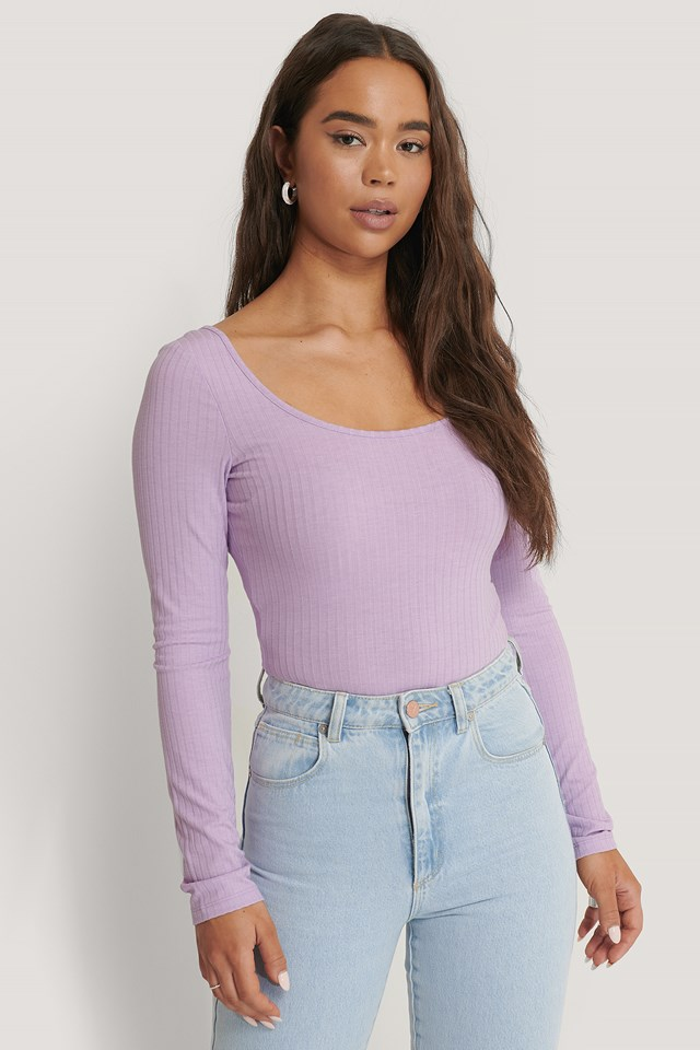 Deep Round Neck Rib Top Lilac
