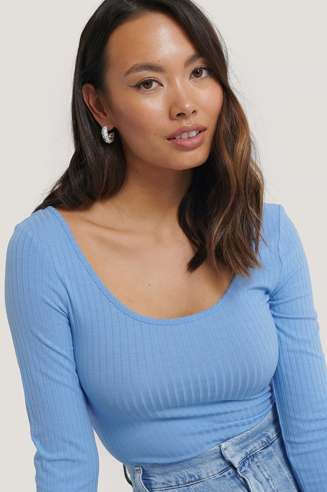 Deep Round Neck Rib Top Light Blue