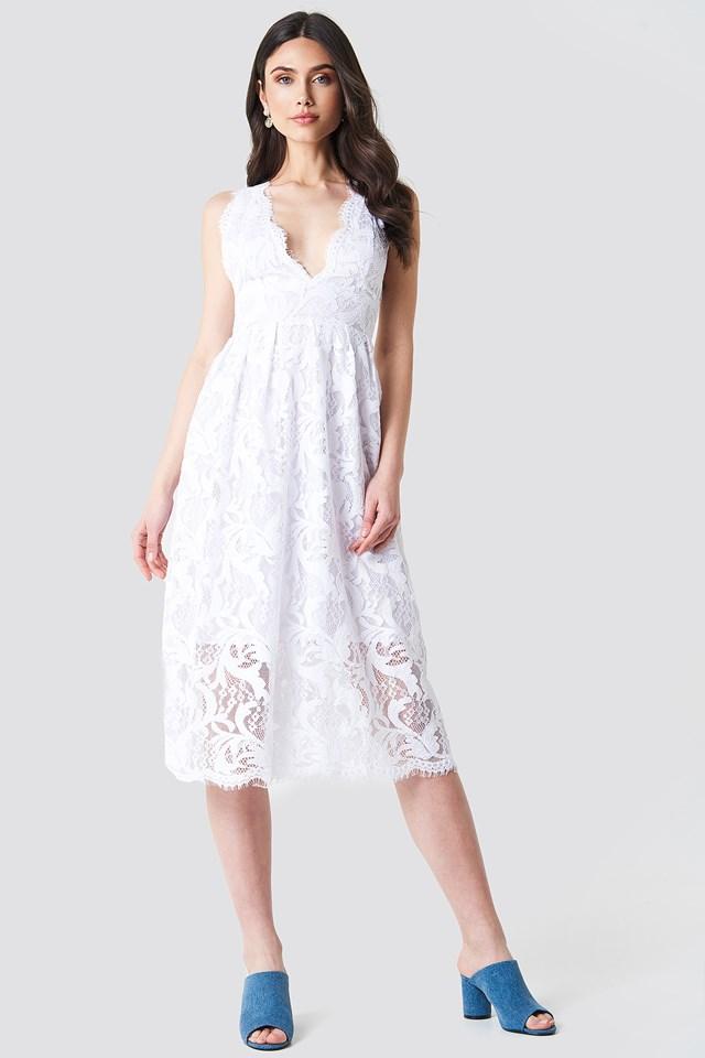 Deep V Midi Lace Dress White