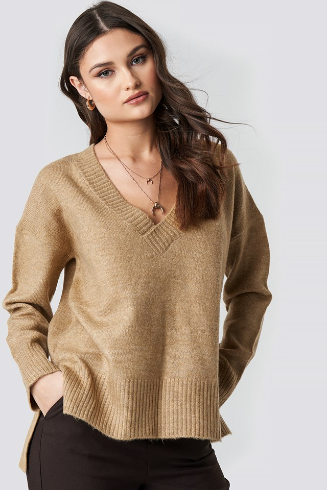 Deep V-neck Oversized Sweater Beige