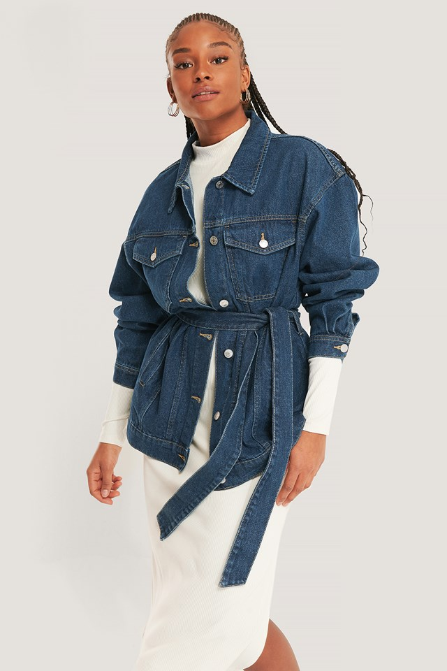 Denim Belted Jacket Mid Blue