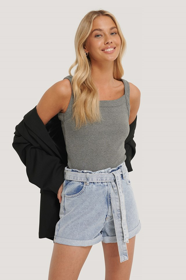 Light Blue Denim Belted Shorts