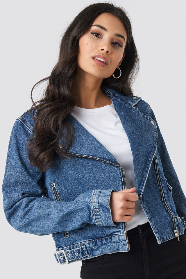 Denim Biker Jacket Dark Blue