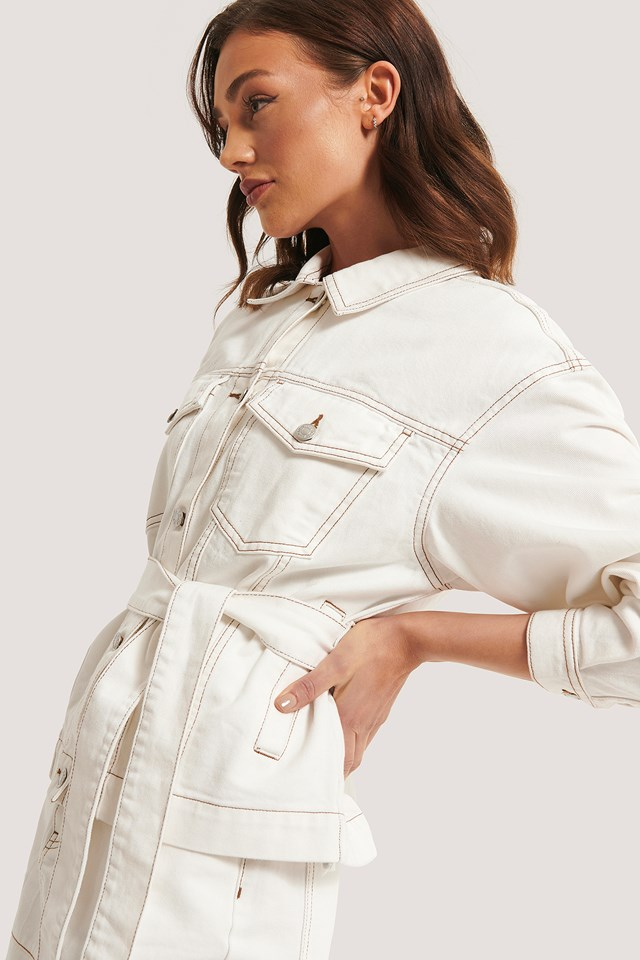 Denim Contrast Seam Jacket Offwhite