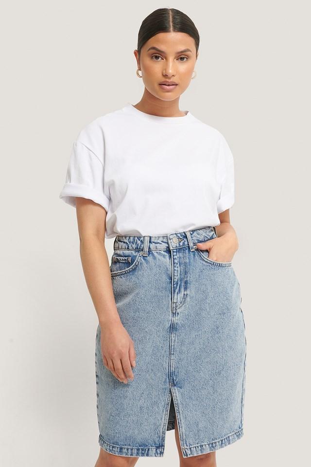 Mid Blue Denim Front Slit Skirt