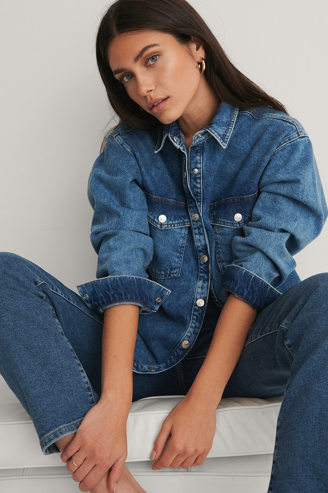 Ekologiczny Koszula Dżinsowa Mid Blue