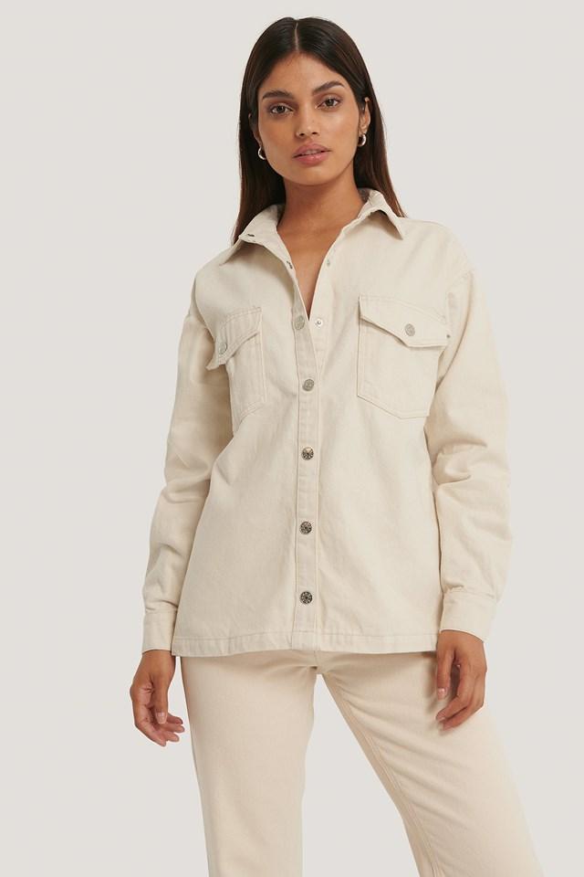 Ekologiczny Koszula Dżinsowa Offwhite