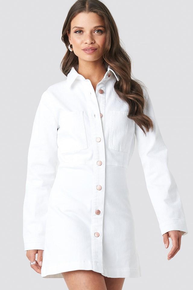 Denim Shirt Mini Dress White