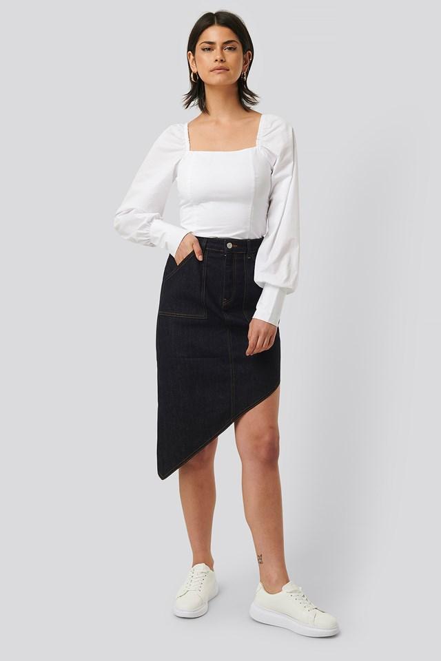 Denim Skirt Dark Blue