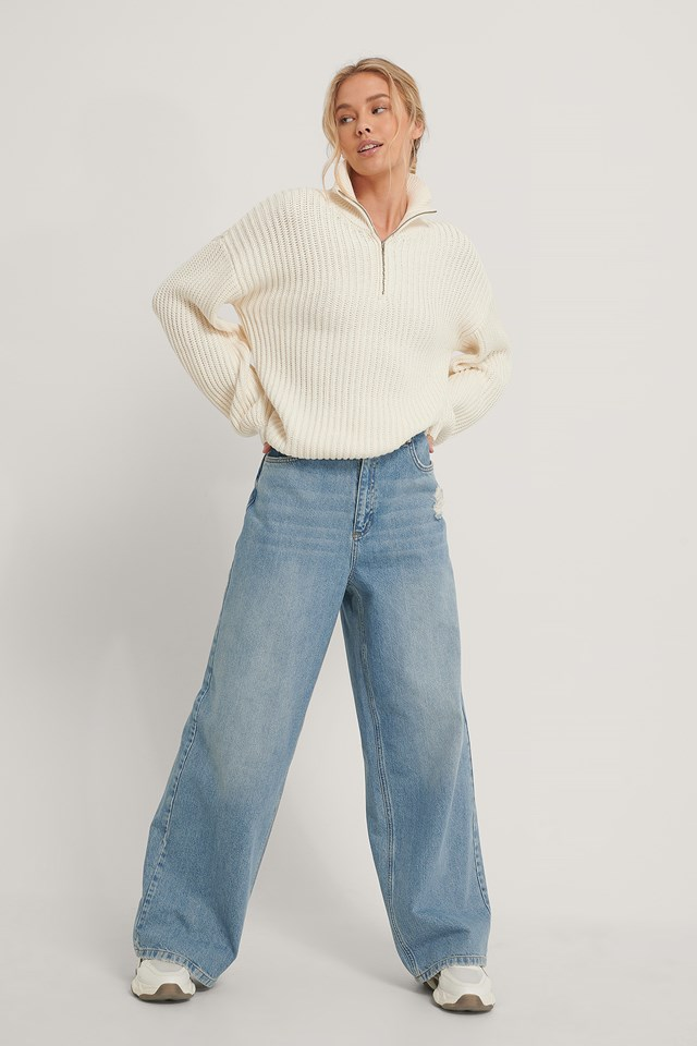 Mid Blue Organic Destroyed Hem Palazzo Jeans