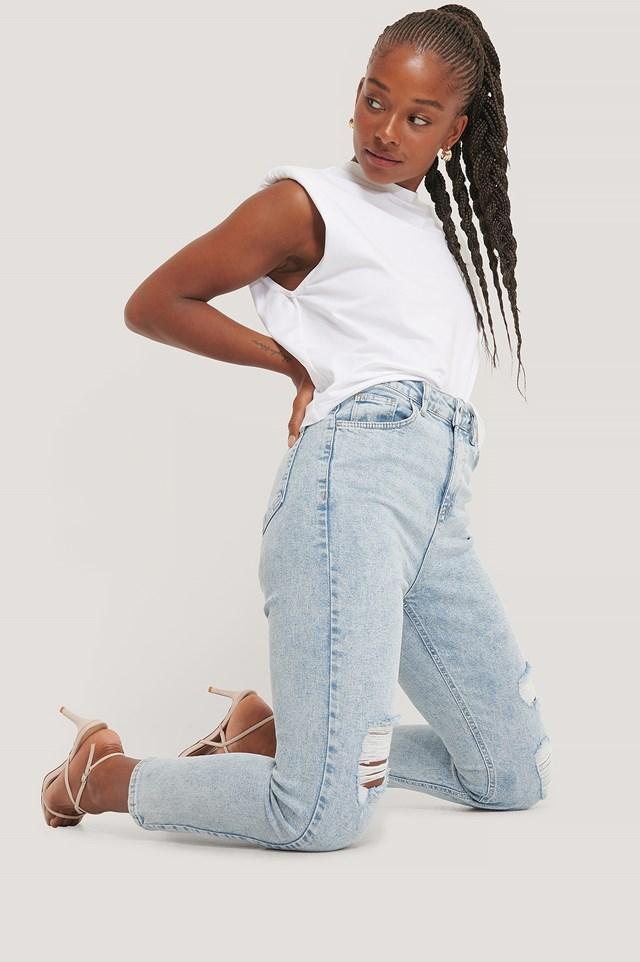 Destroyed Slim High Waist Jeans Light Blue