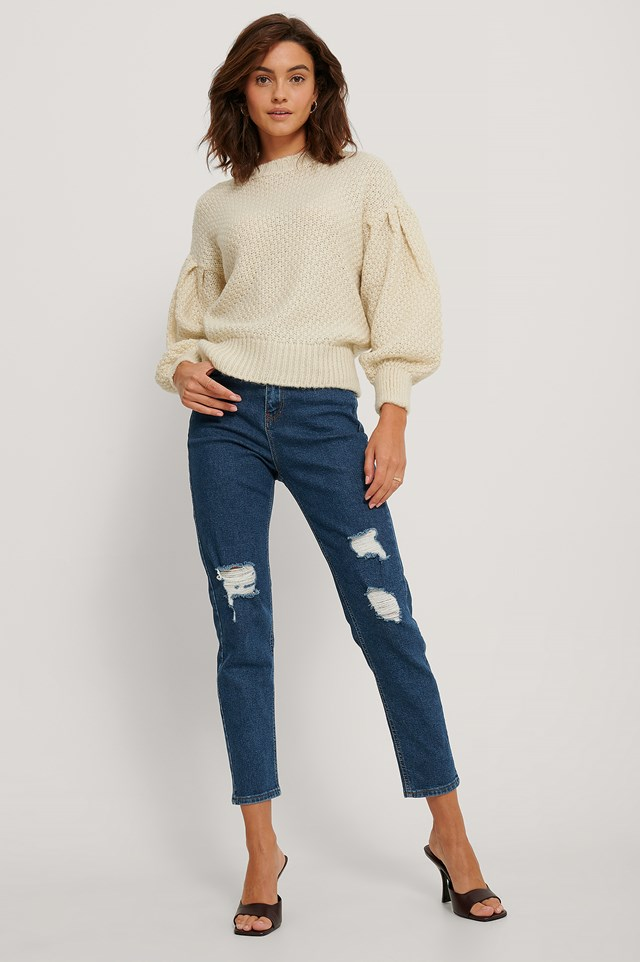 Mid Blue Destroyed Slim High Waist Jeans