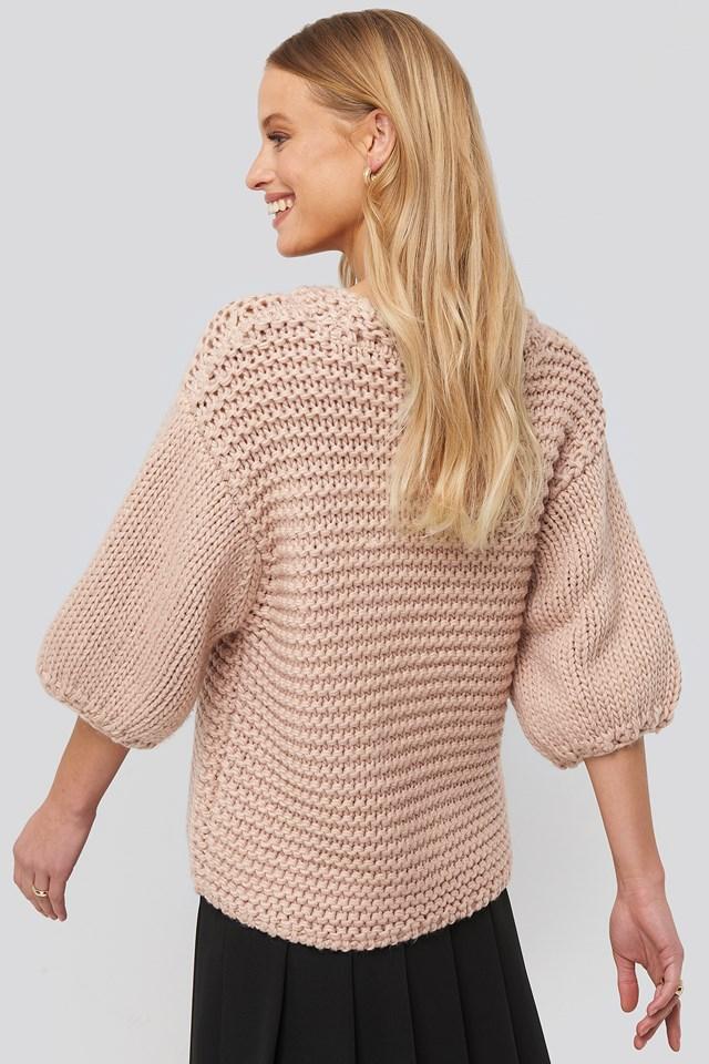 Detail Neck Short Sleeve Sweater Misty Rose