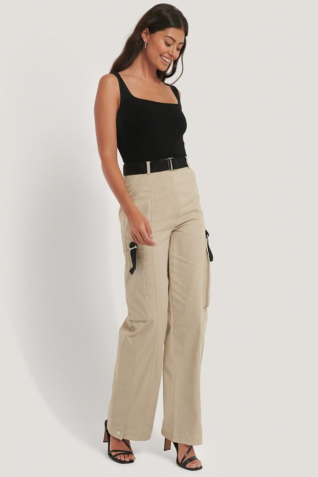 Detailed Cargo Pants Beige