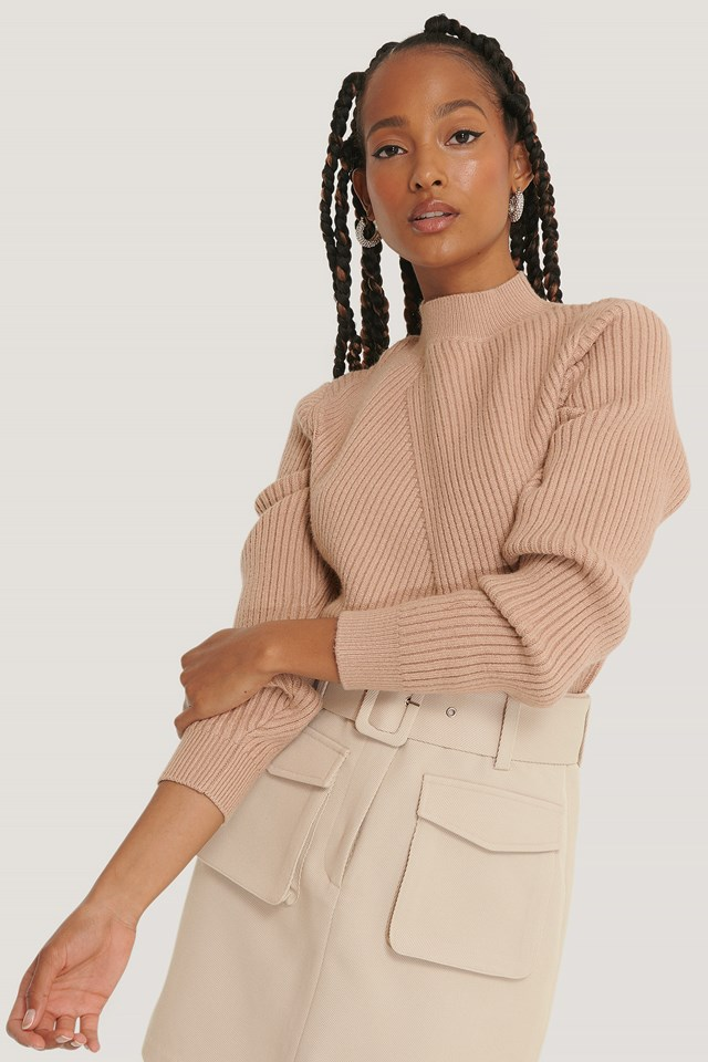 Diagonal Detail Knitted Sweater Beige