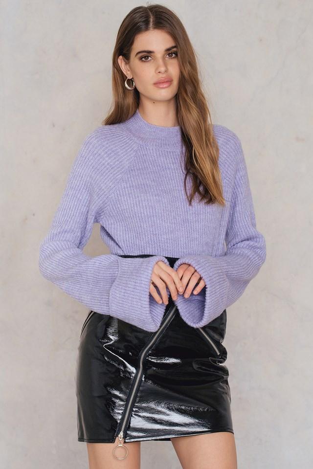 Diagonal Zip Patent Skirt Black