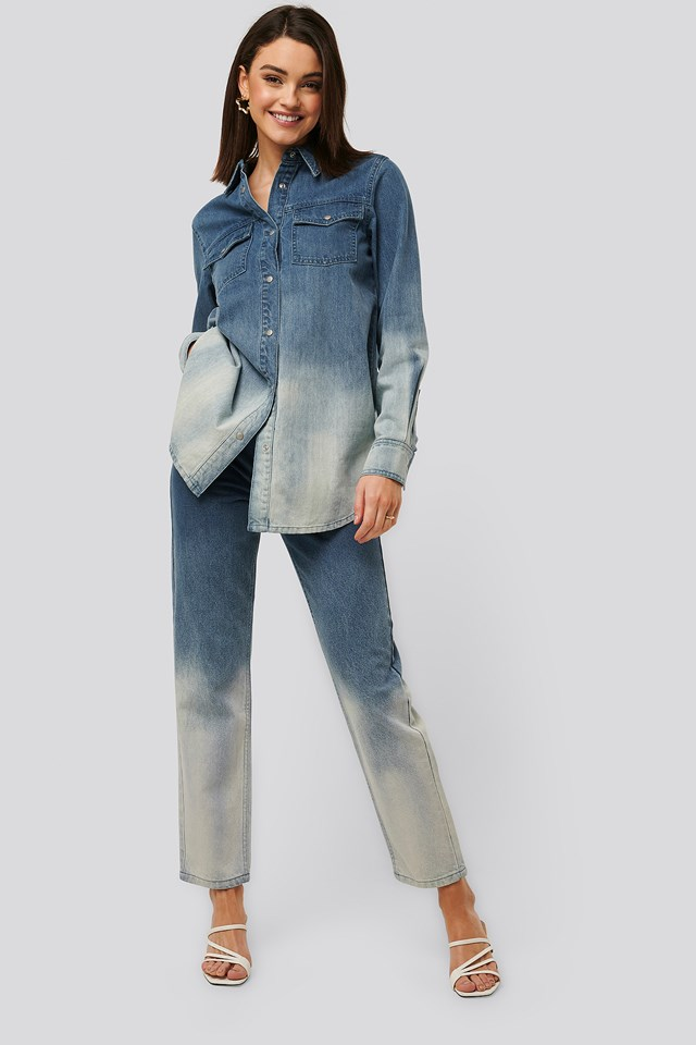 Dip Dye Denim Blue