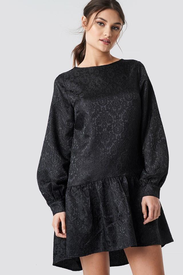 Dip Hem Jacquard Dress Black