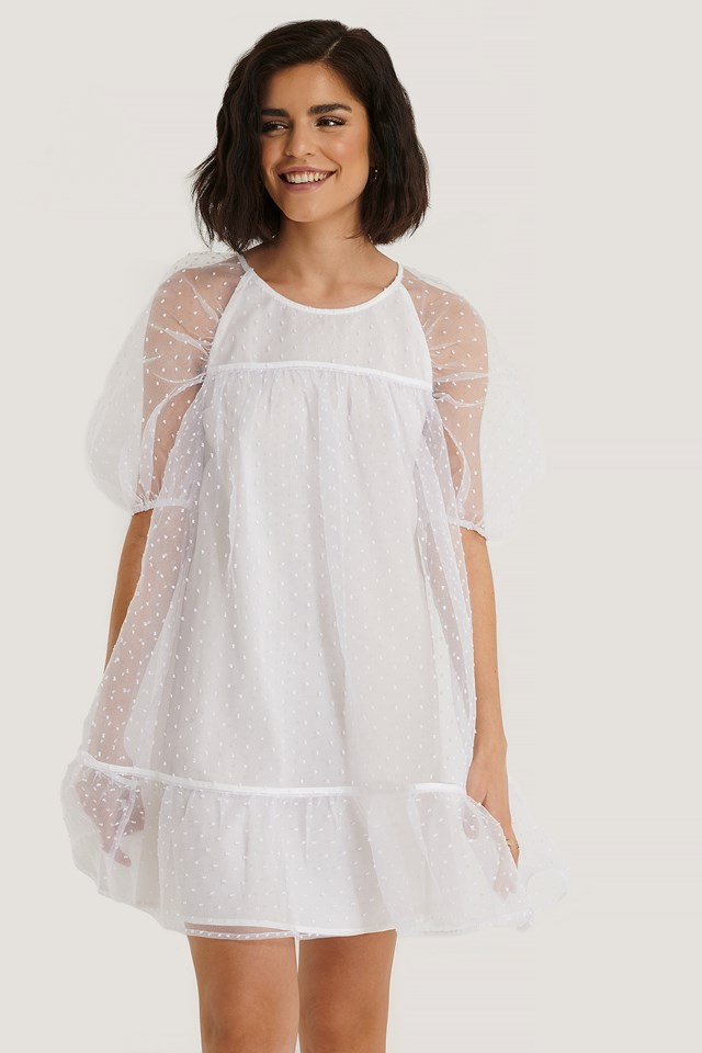 Dobby Organza Mini Dress White