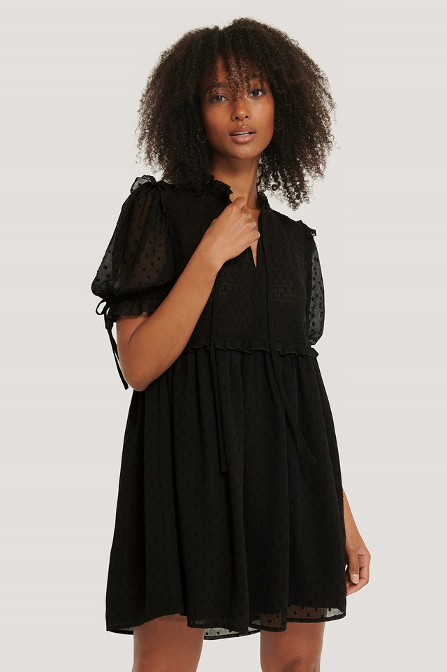 Black Dobby Smocked Mini Dress