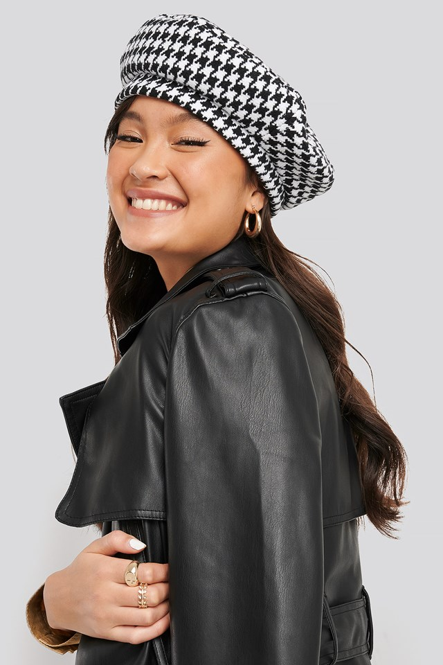 Dogtooth Beret Hat Black/White