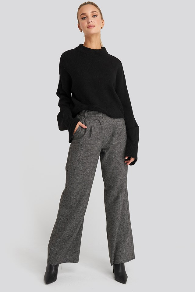 Dogtooth Raw Edge Suit Pants Grey