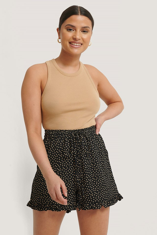 Dotted Frill Hem Shorts Black/Nude