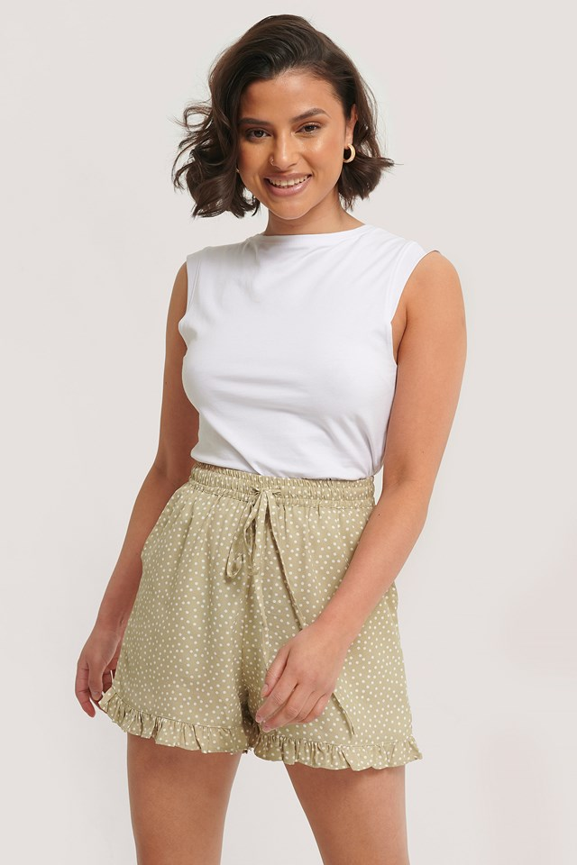 Dotted Frill Hem Shorts Beige/White