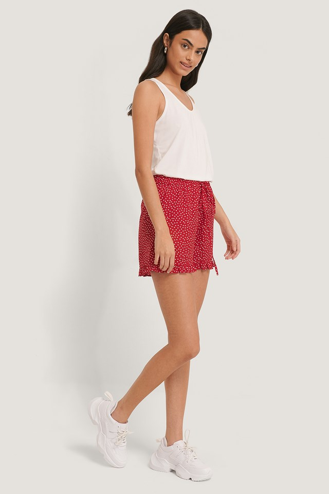 Dotted Frill Hem Shorts Red/White Dots