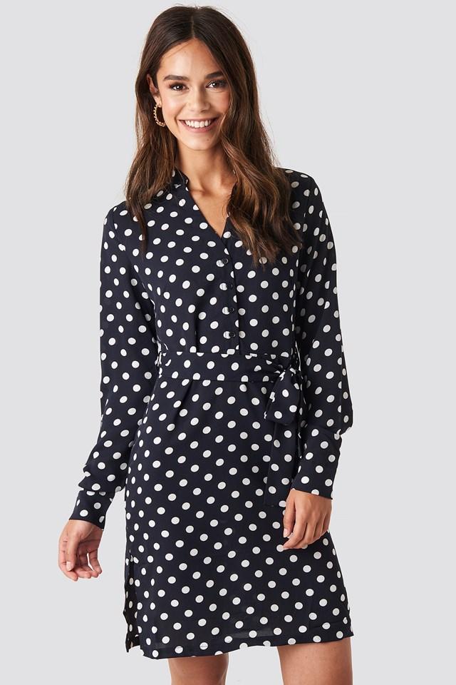 Navy Dotted Tie Waist Slit Dress