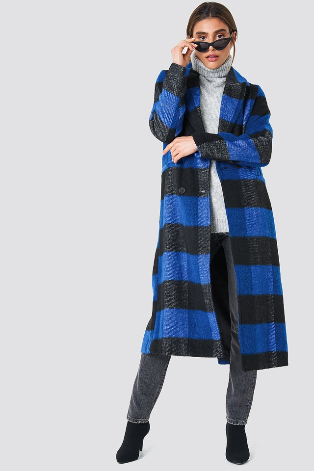 Double Breasted Checked Coat Cobolt